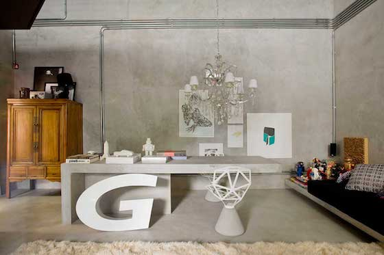 4.Small-Home-Office-Space-Design-with-Rustic-Cupboard-and-Gray-Desk-and-Unique-Chandelier-and-Cream-Rug